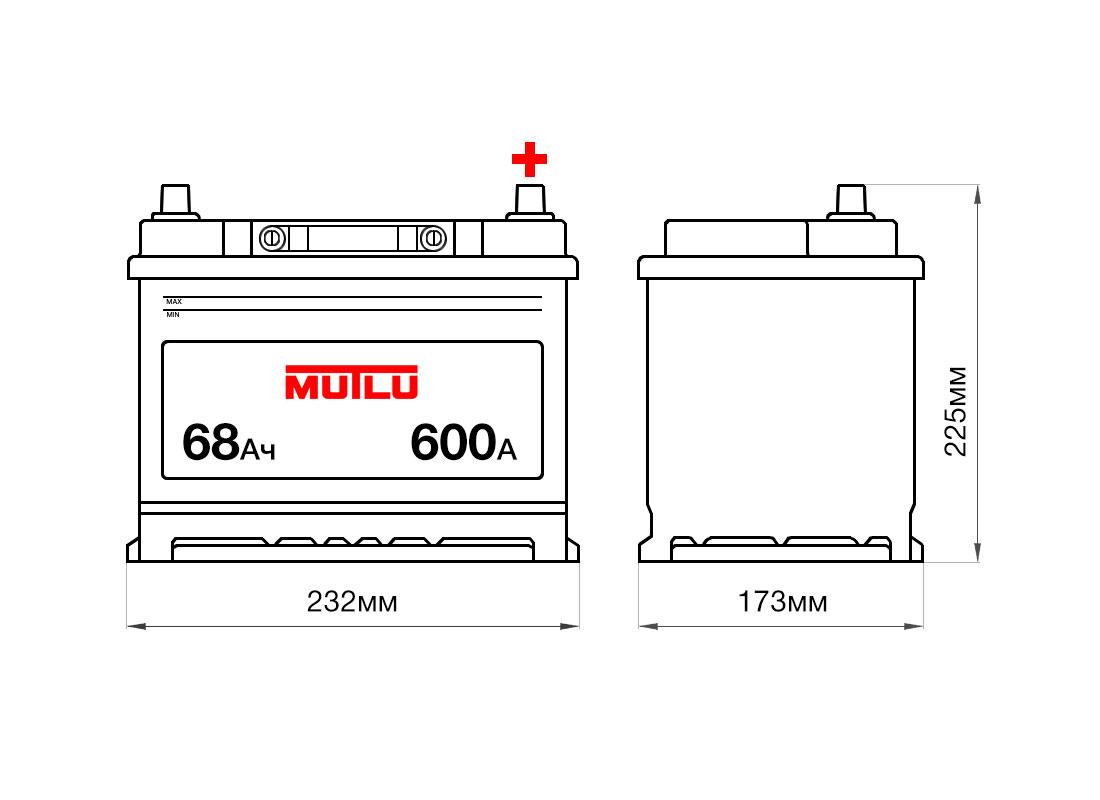Аккумулятор MUTLU 68Ah 12V 600A D23C размеры