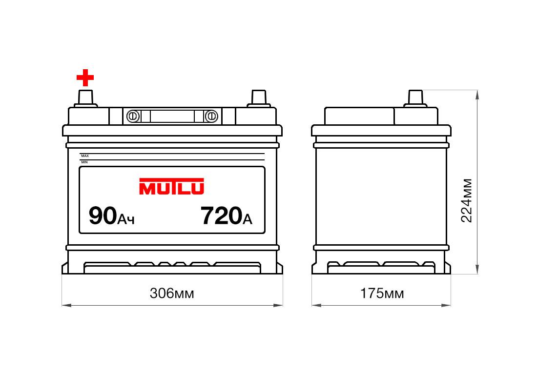 Аккумулятор MUTLU 90Ah 12V 720A D31D размеры