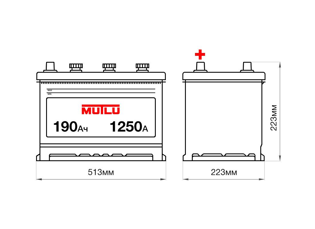 Аккумулятор MUTLU 190Ah 12V 1250A 1D5A размеры