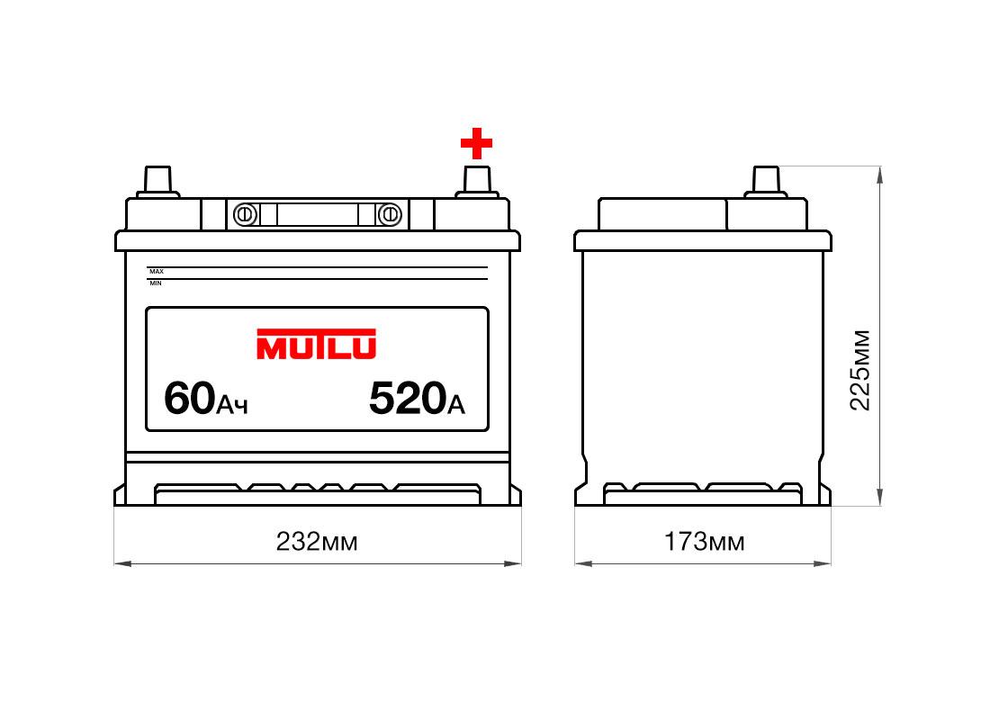 Аккумулятор MUTLU 60Ah 12V 520A D23C Размеры