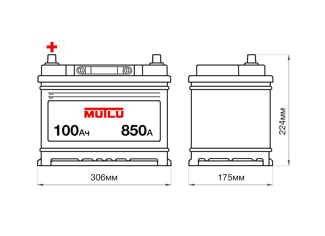 Аккумулятор MUTLU 100Ah 12V 850A D31С размеры