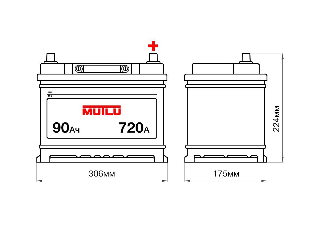 Аккумулятор MUTLU 90Ah 12V 720A D31C размеры