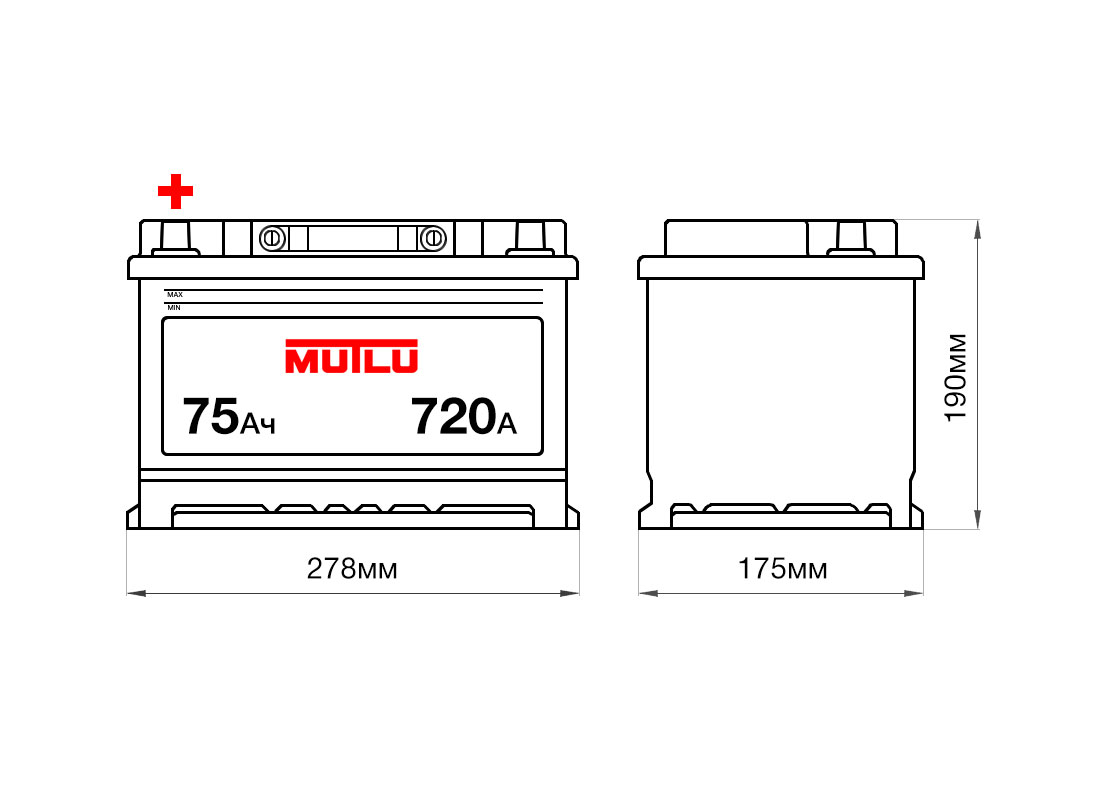 Аккумулятор MUTLU 75Ah 12V 720A L3B размеры