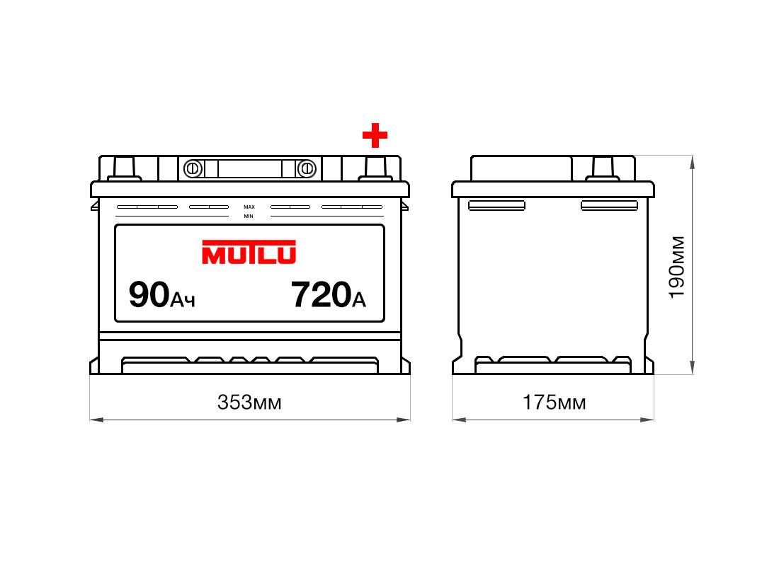 Аккумулятор MUTLU 90Ah 12V 720A L5A размеры
